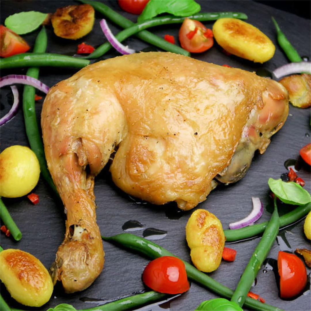 Tender and crispy French confit of chicken