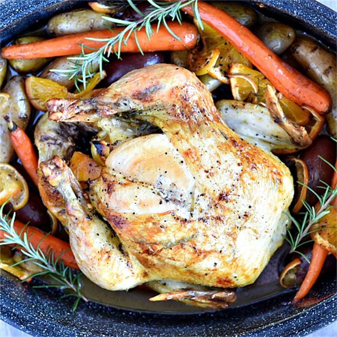 Citrus Rosemary Oven Roasted Chicken