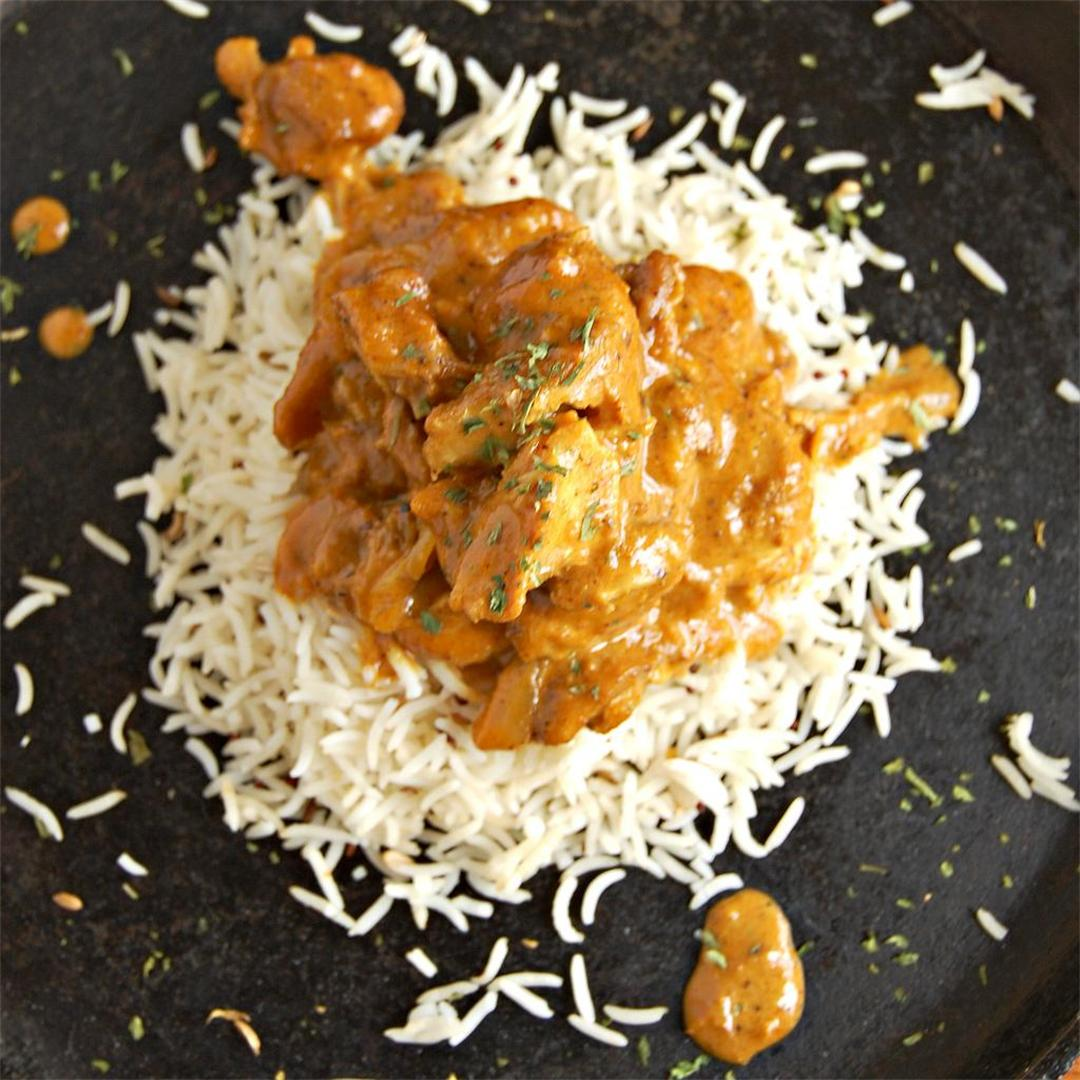 Indian Butter Chicken over Spiced Rice
