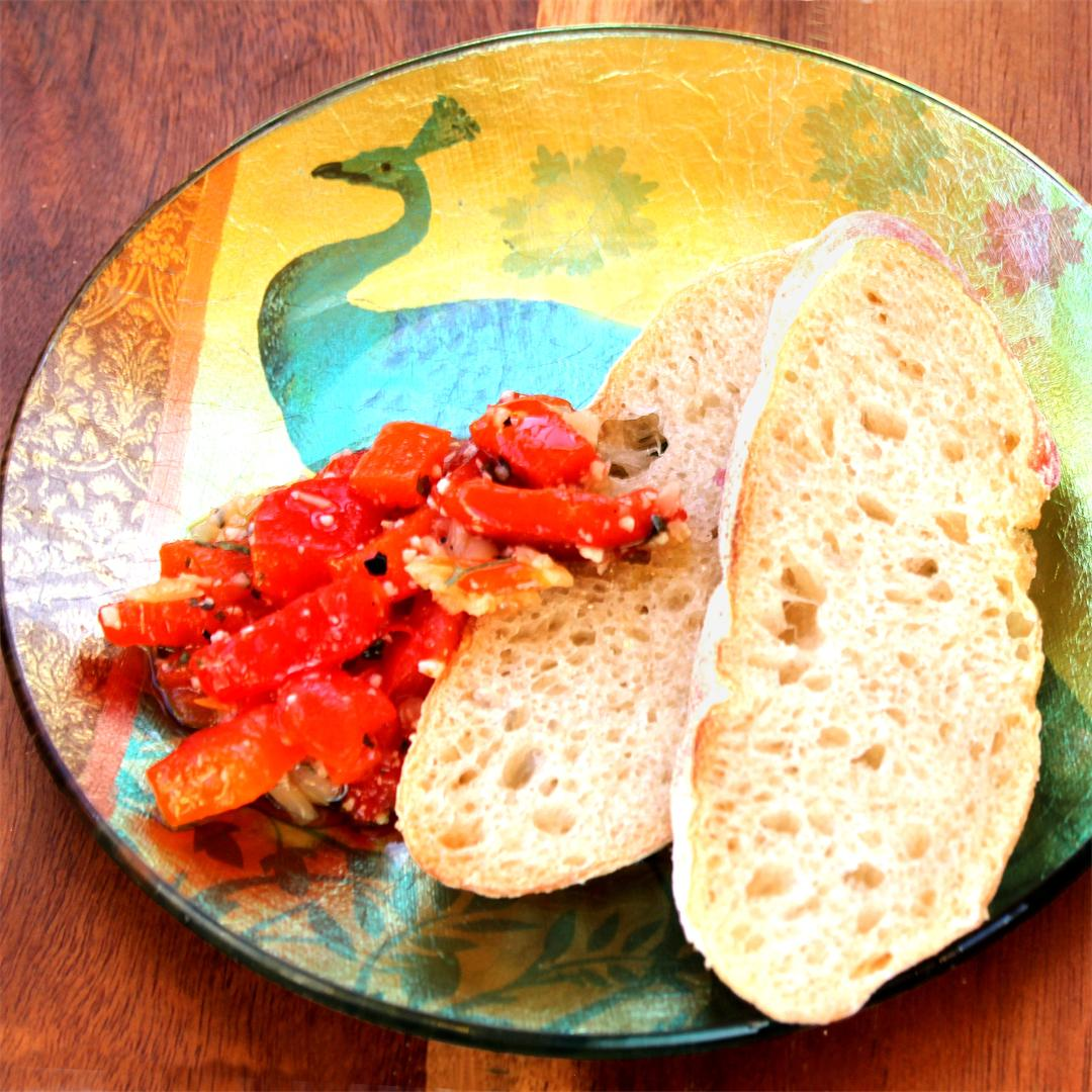 Roast Garlic-Sweet-Pepper Bruschetta
