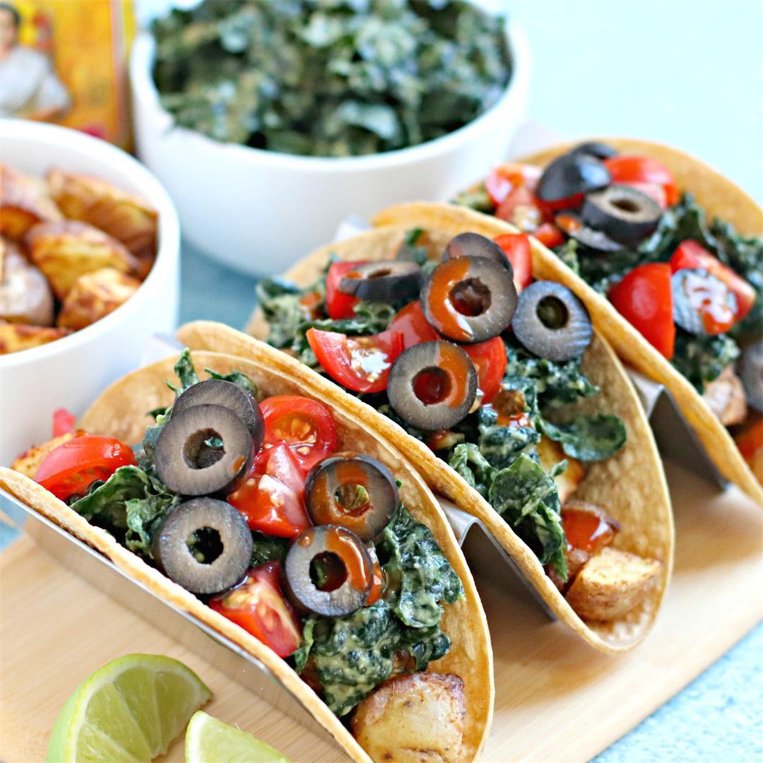Vegan Potato Tacos with Massaged Kale