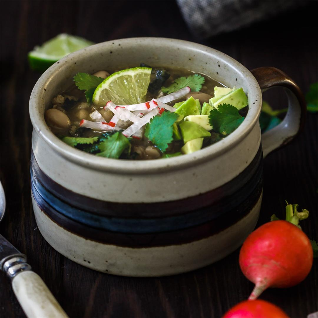 Farro and White Bean Posole Verde