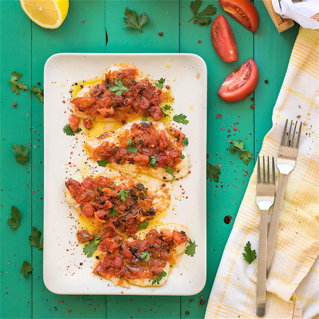 Baked Sole with Mediterranean sauce