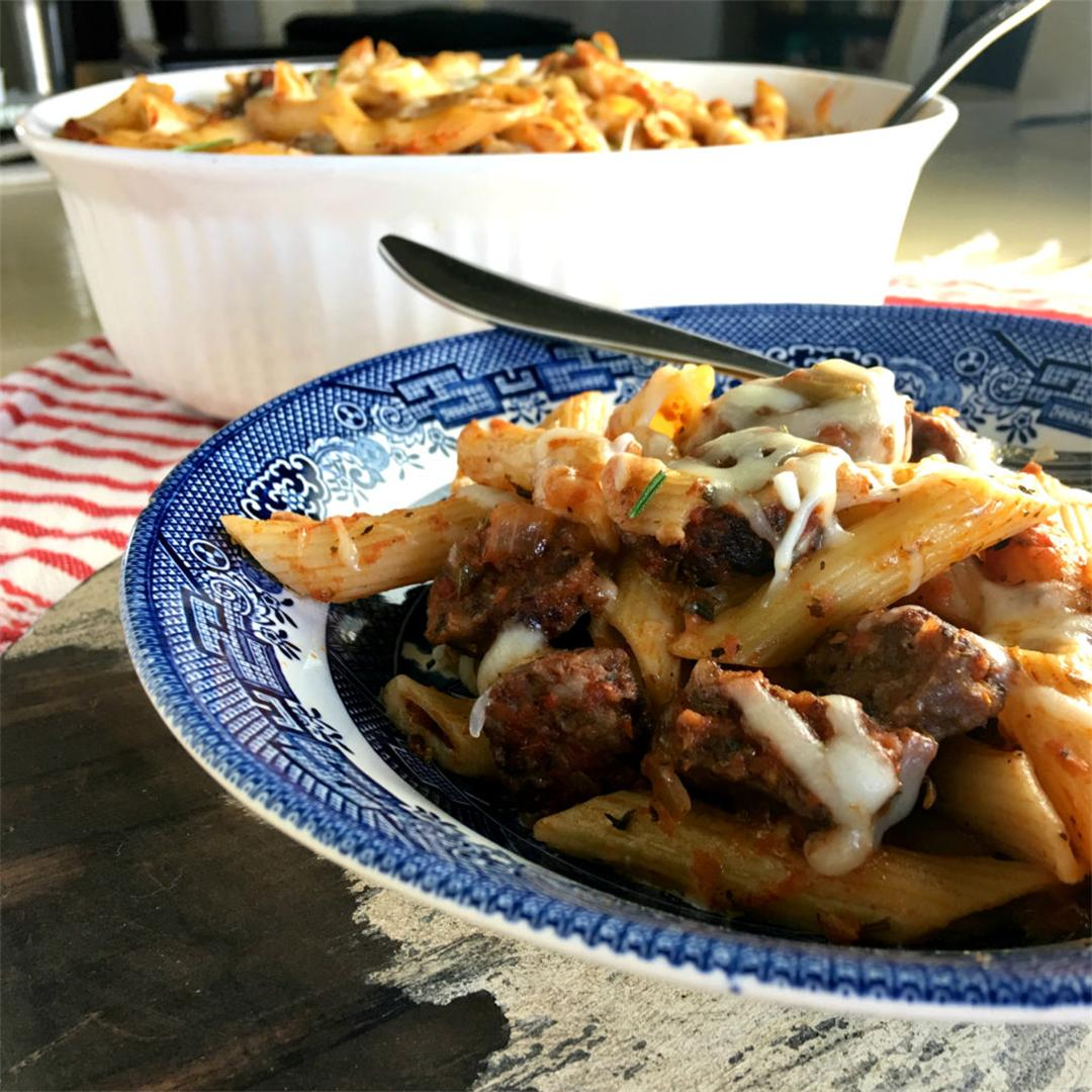 Baked Penne Pasta with Sausage in Red Wine Tomato Sauce