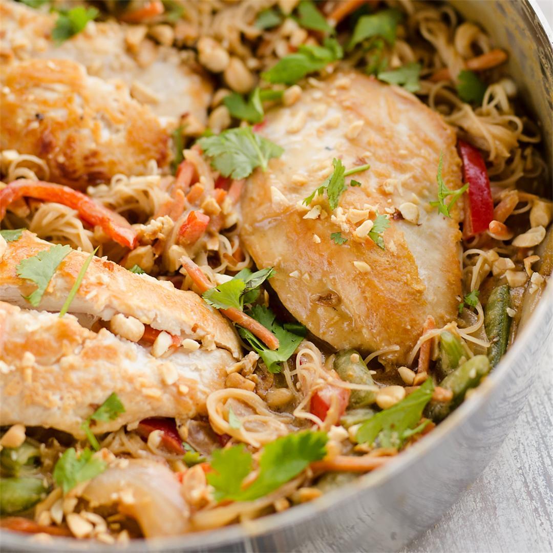 Thai Peanut Chicken Noodle Skillet