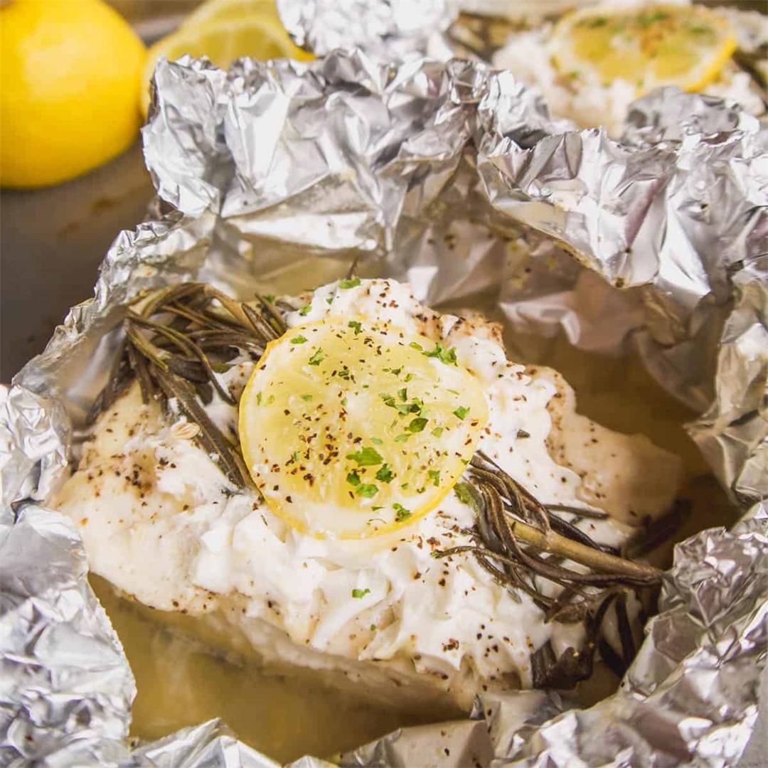 Foil Packet Lemon Rosemary Halibut (GF, Grain-Free)