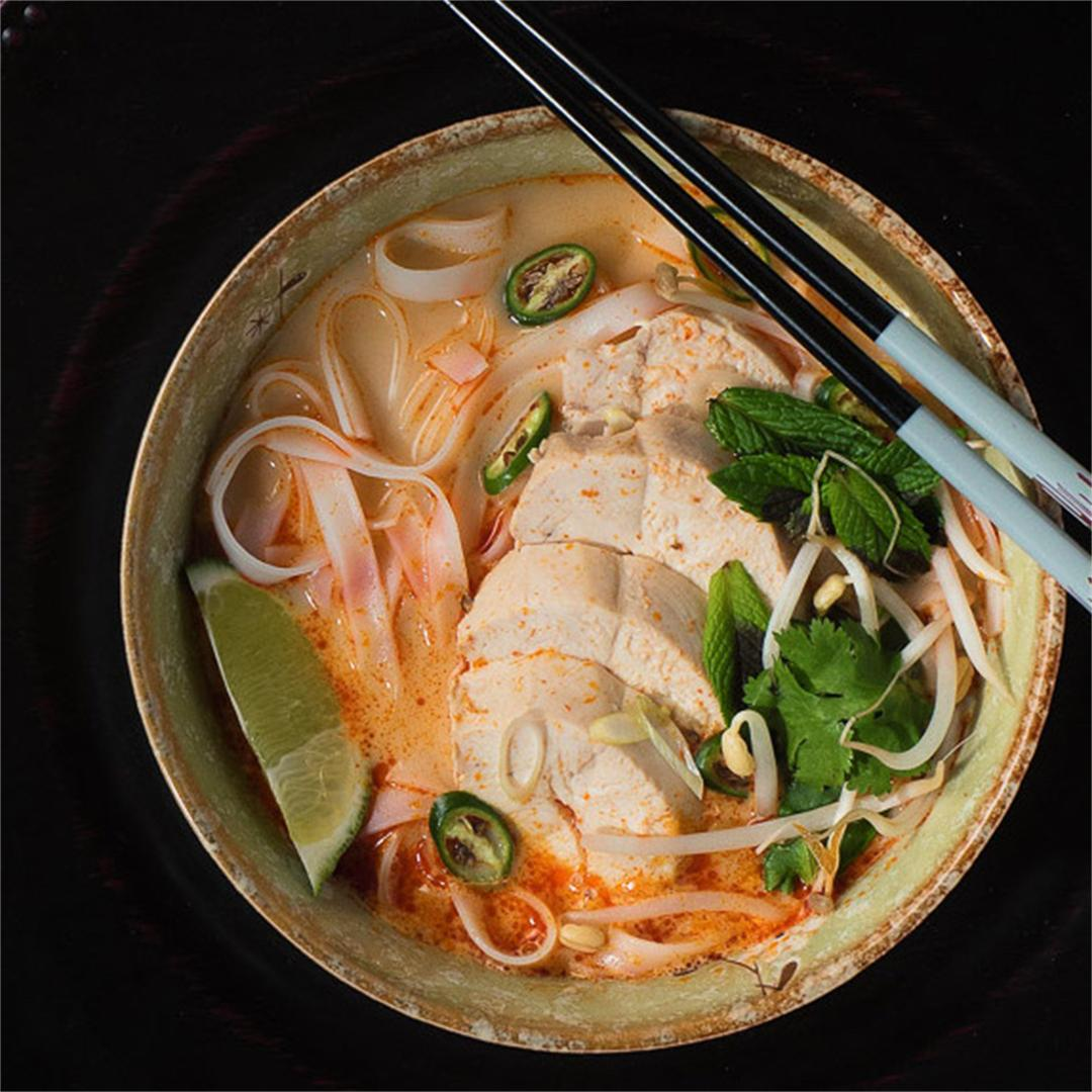 Thai red curry noodle soup with coconut broth!