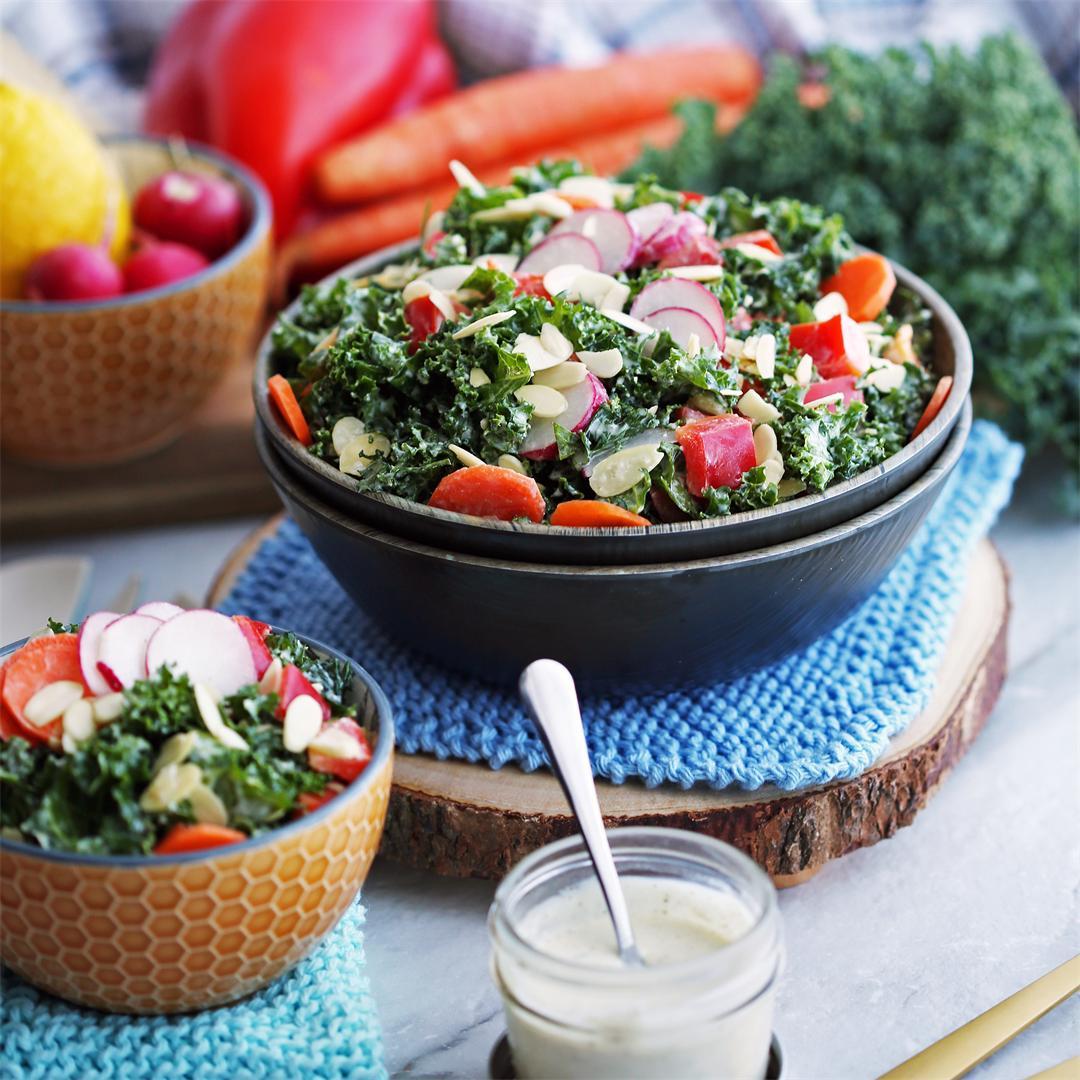 Crunchy Kale Salad with Creamy Parmesan Yogurt Dressing
