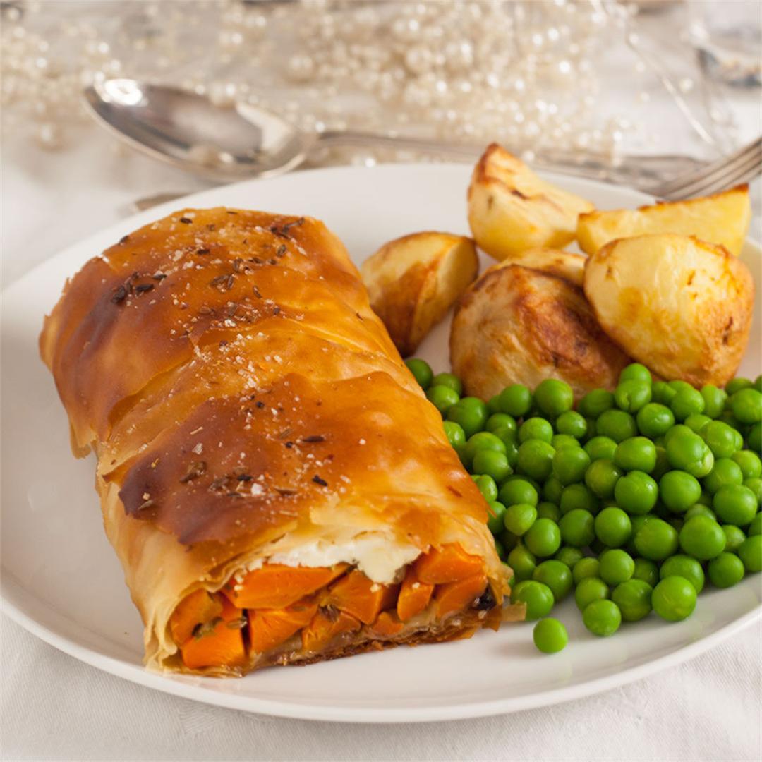 Roast Spiced carrot & feta Strudel