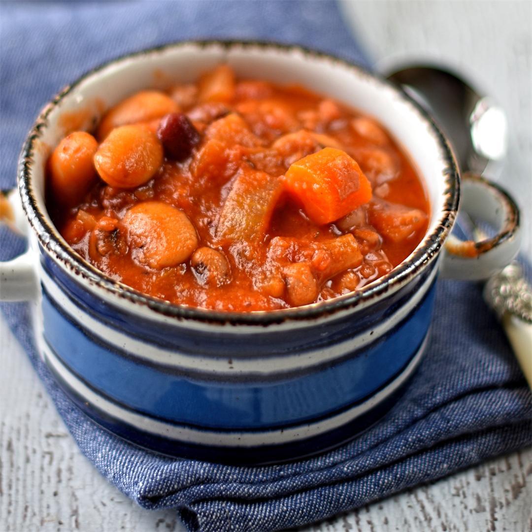 campfire smoky bean and tomato stew