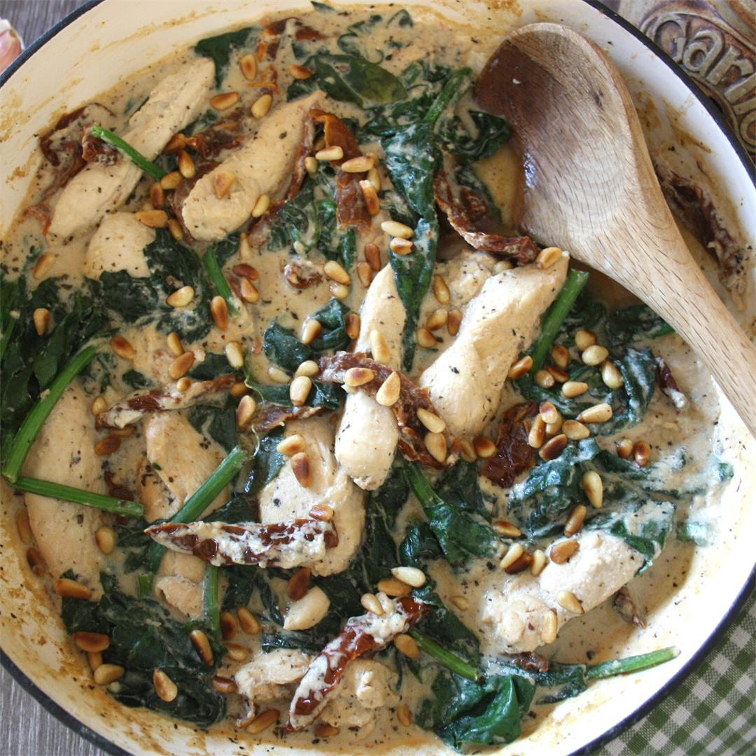 Creamy Chicken with Sun Dried Tomatoes & Spinach