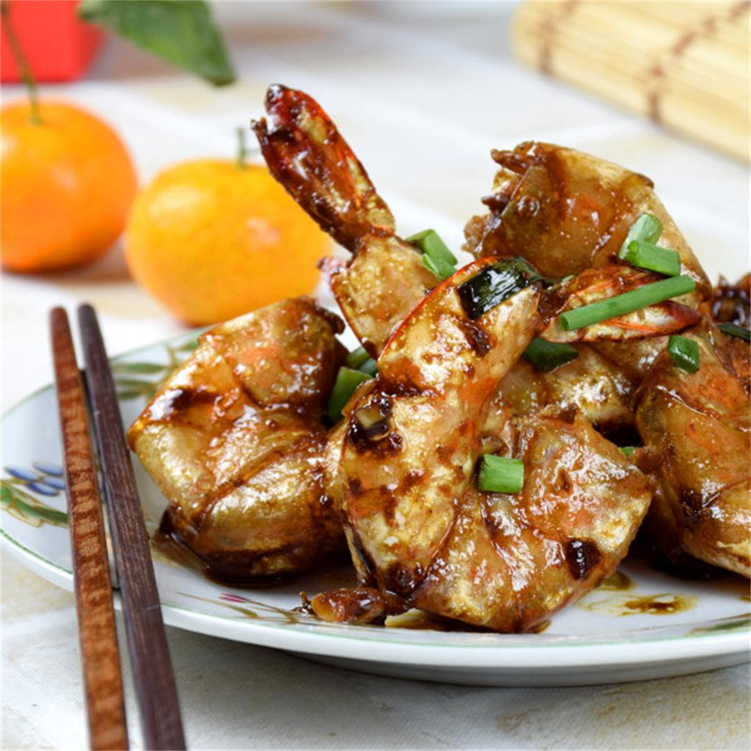 Pan-fried shrimps with Premium Soy Sauce