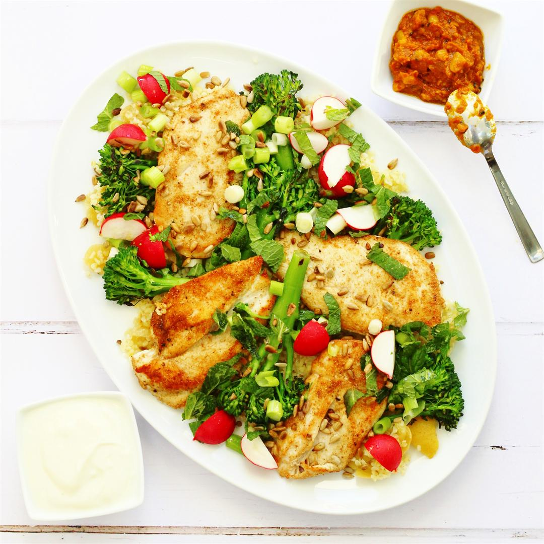Chicken broccoli and bulgur wheat salad