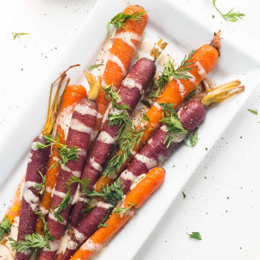 Whole Roasted Rainbow Carrots with Lemon-Sesame Dressing