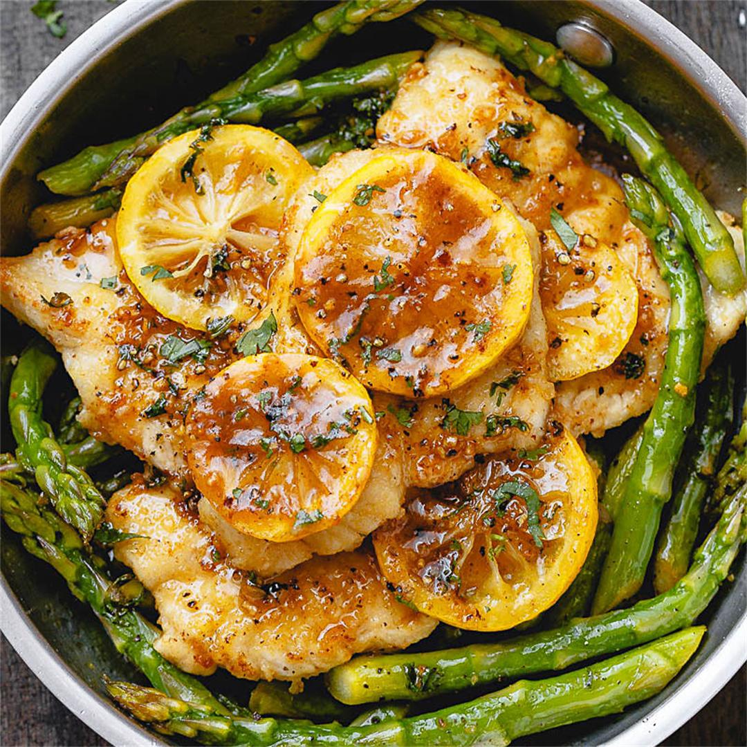 One-Pan Lemon Butter Chicken with Asparagus
