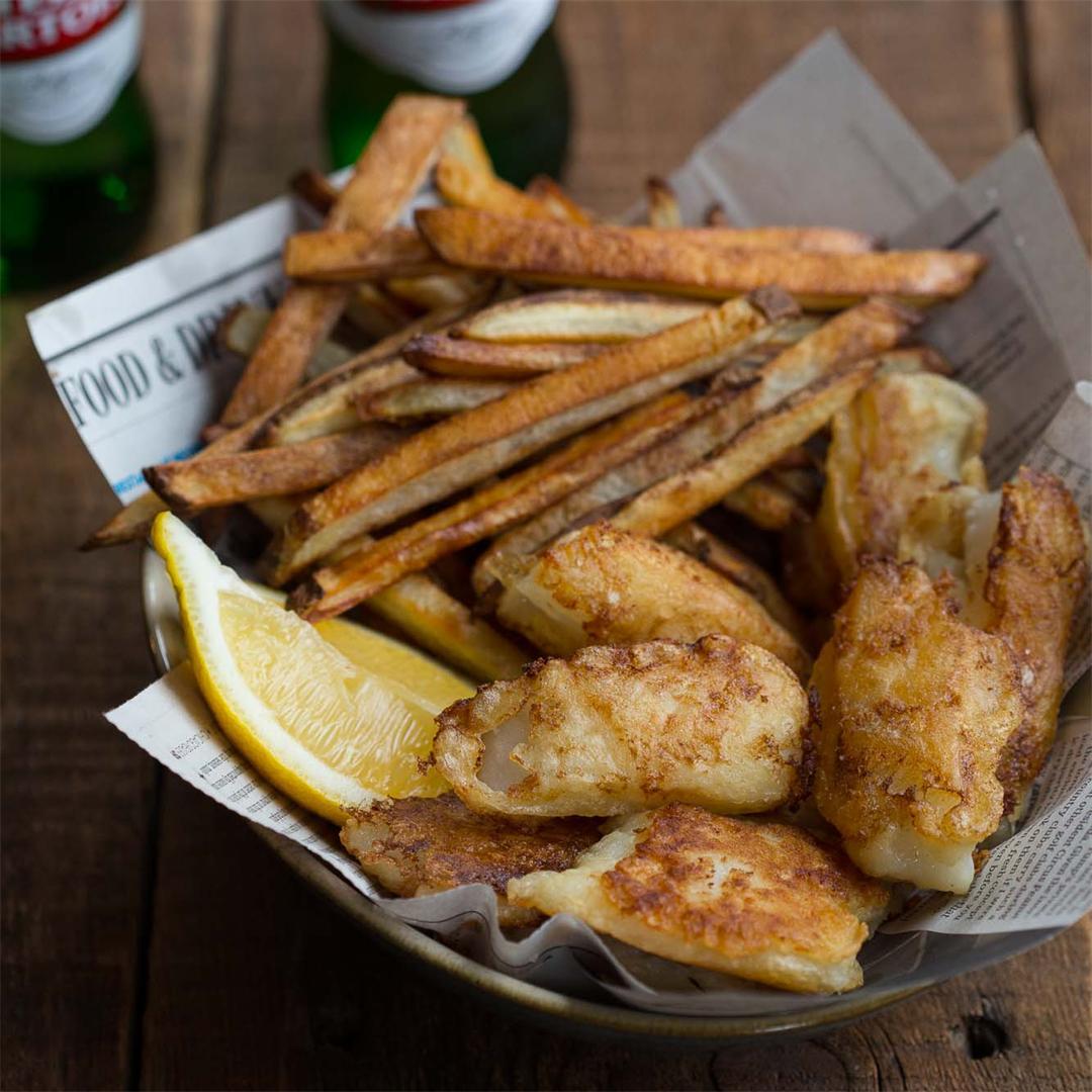 Lightened Up Beer Battered Fish & Chips