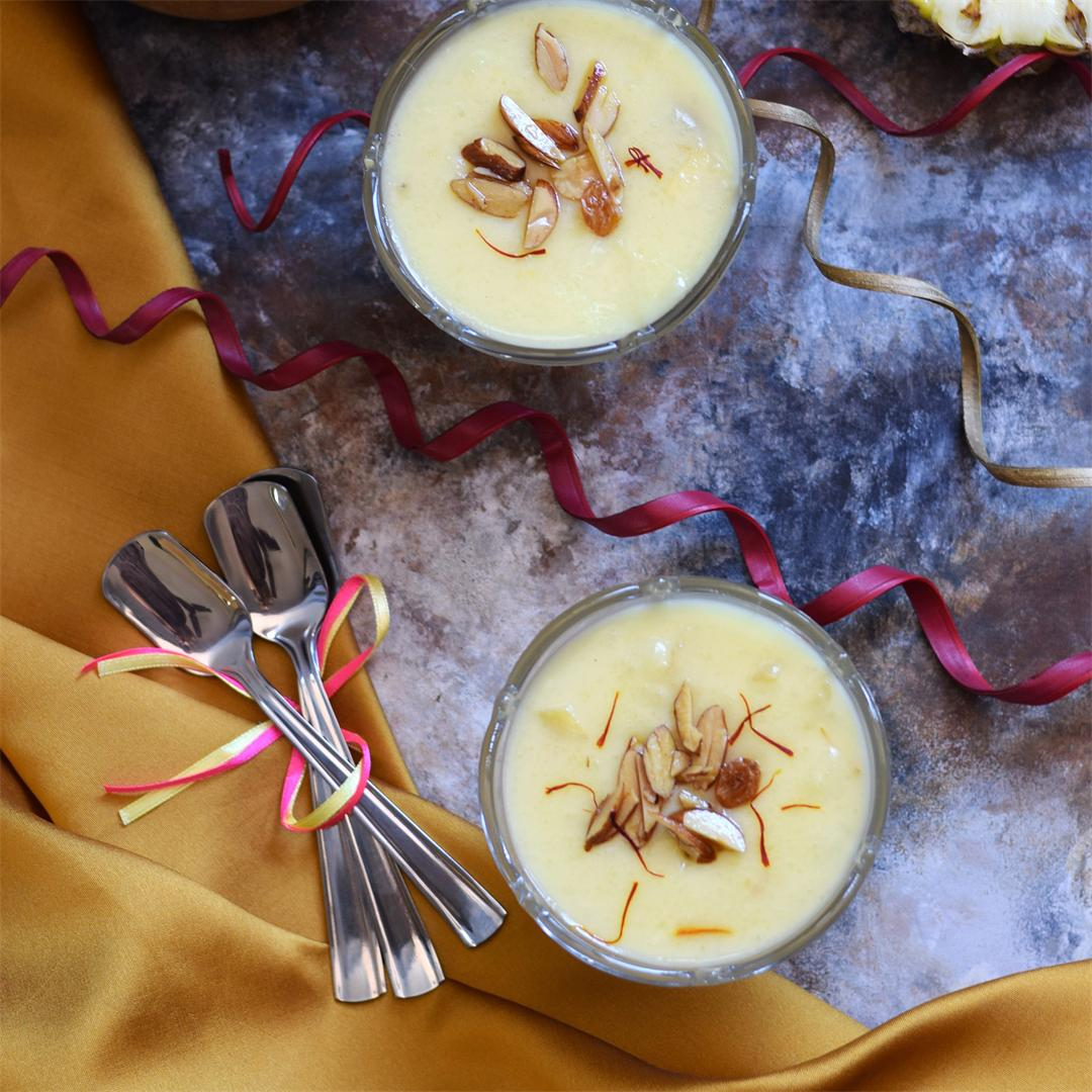 Pineapple Kesar Phirni a traditional Indian sweet