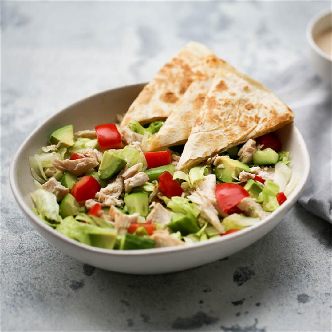 Chopped Chicken + Cheesy Quesadilla Salad