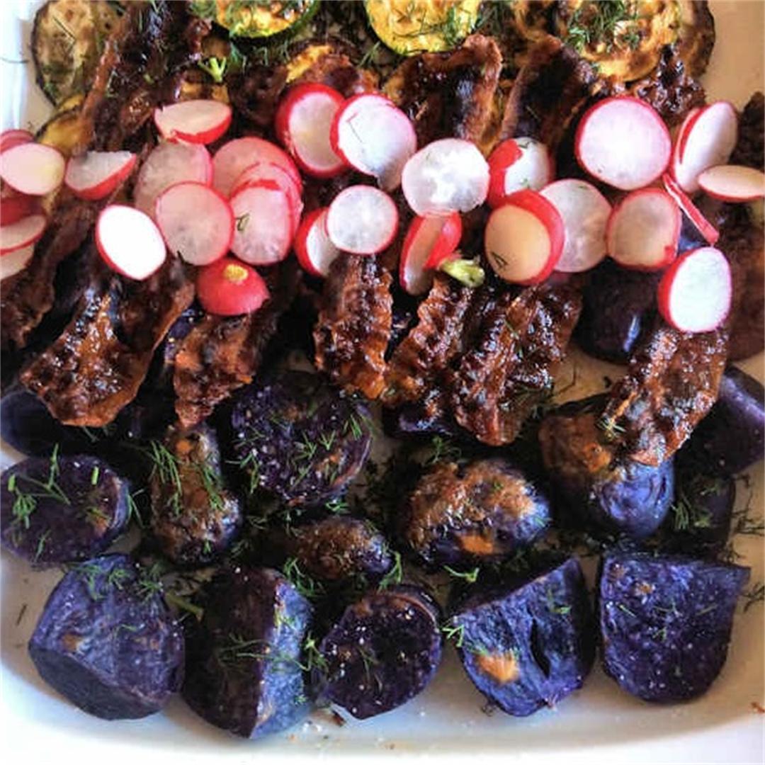 Goth potatoes and zucchini salad