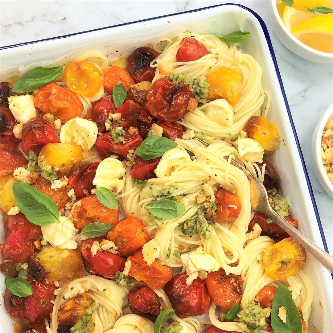 Tomato Mozzarella Pasta with Pesto Crumbs