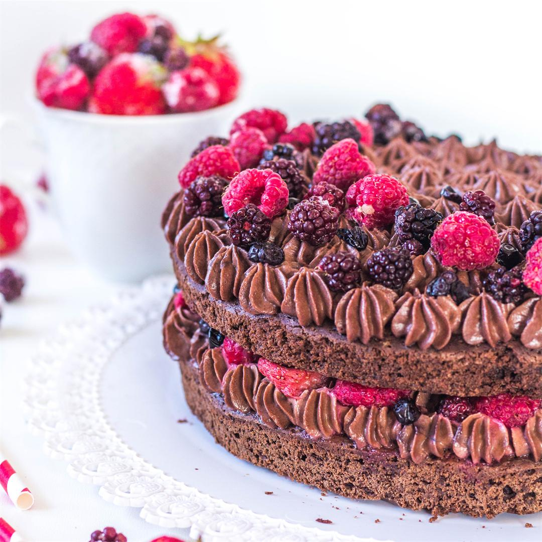 Brownie Chocolate Cake with Chocolate Mascarpone Filling