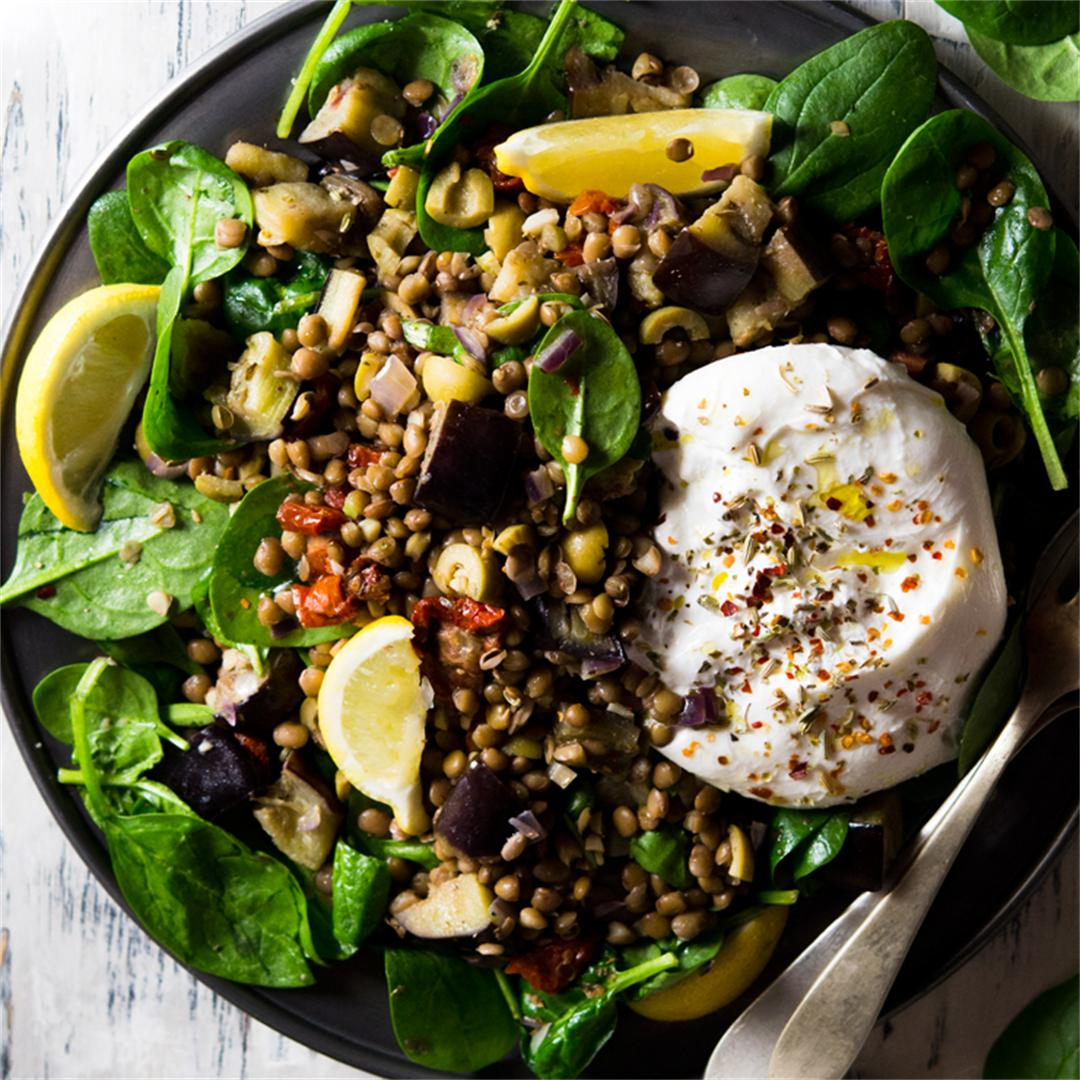Loaded Lentil Salad With Eggplant And Burrata