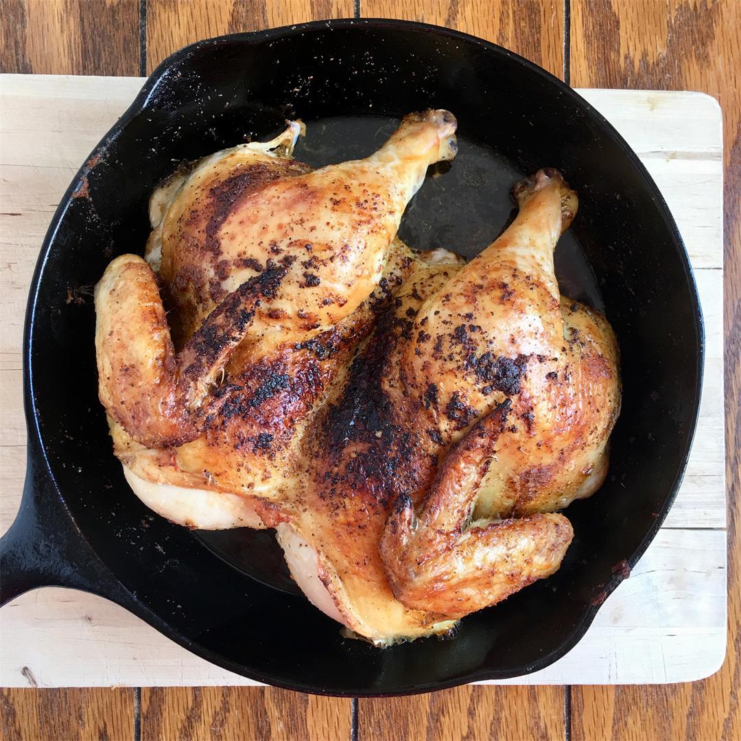 Butterflied oven roasted chicken