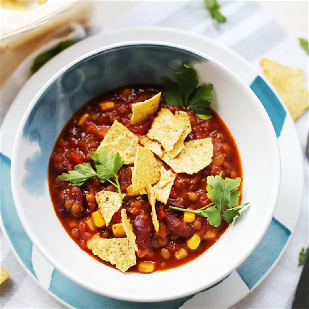 Healthy vegan bean tortilla soup