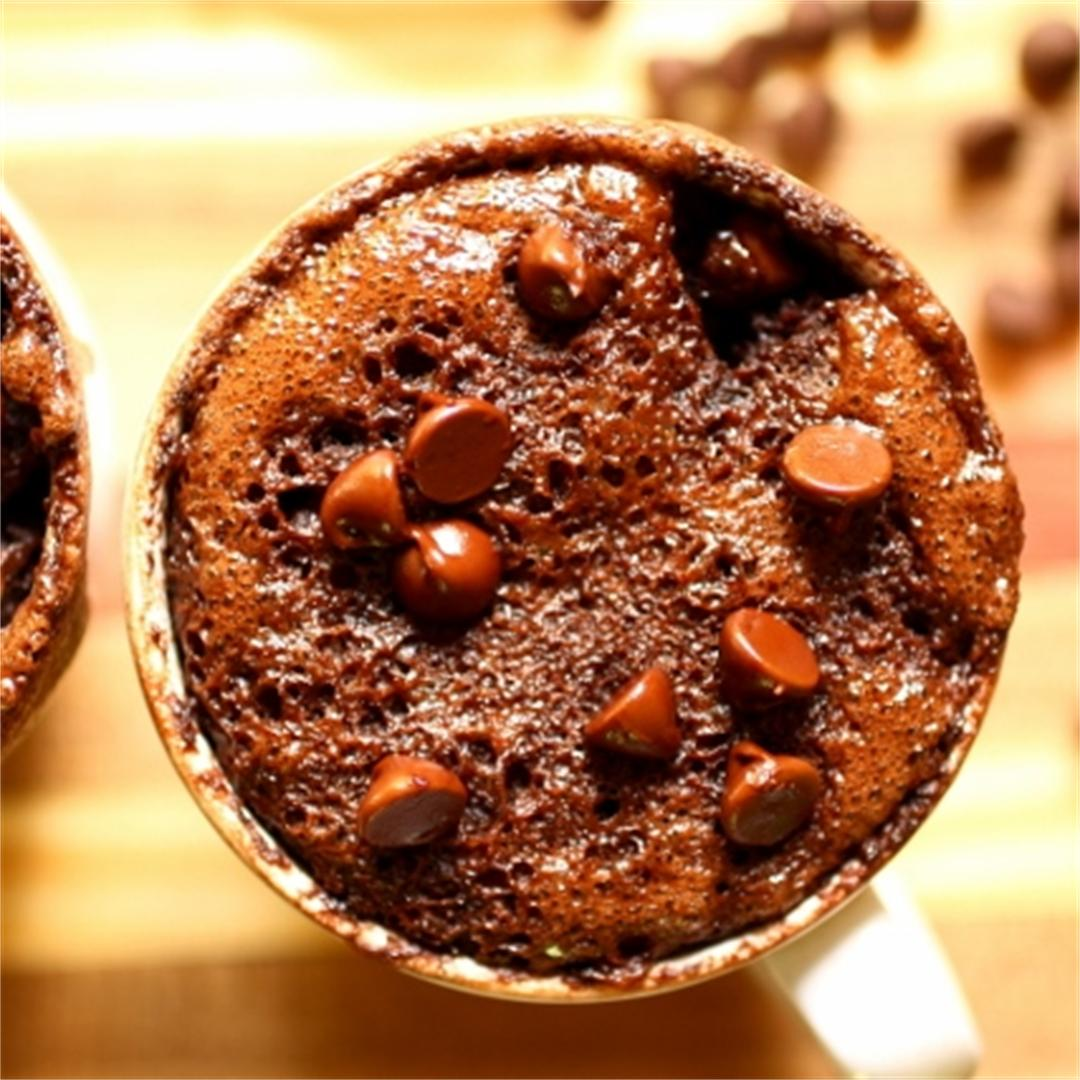 Double chocolate oat mug cake