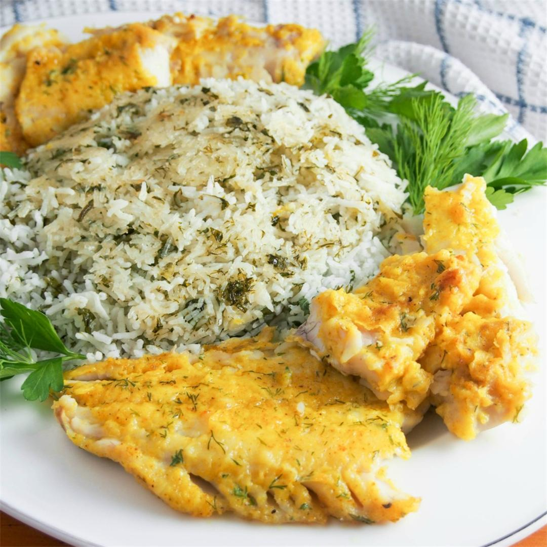 Persian herb rice with fish