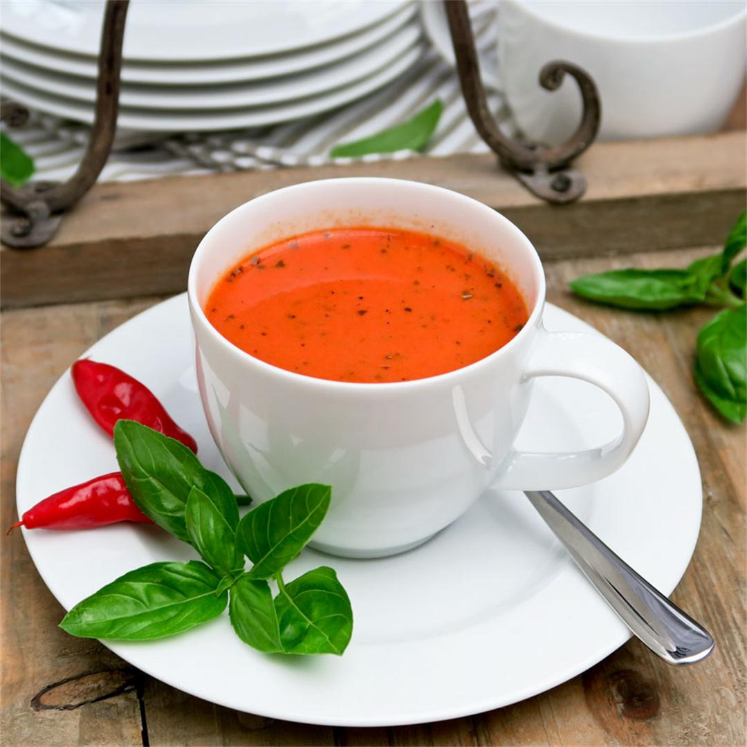 Cute little cups with tomato and red pepper soup