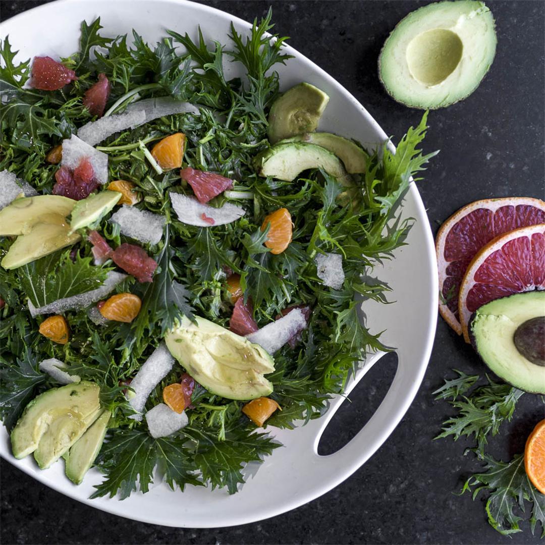 Mizuna Citrus Salad w/ avocado and jicama ,  simple refreshing