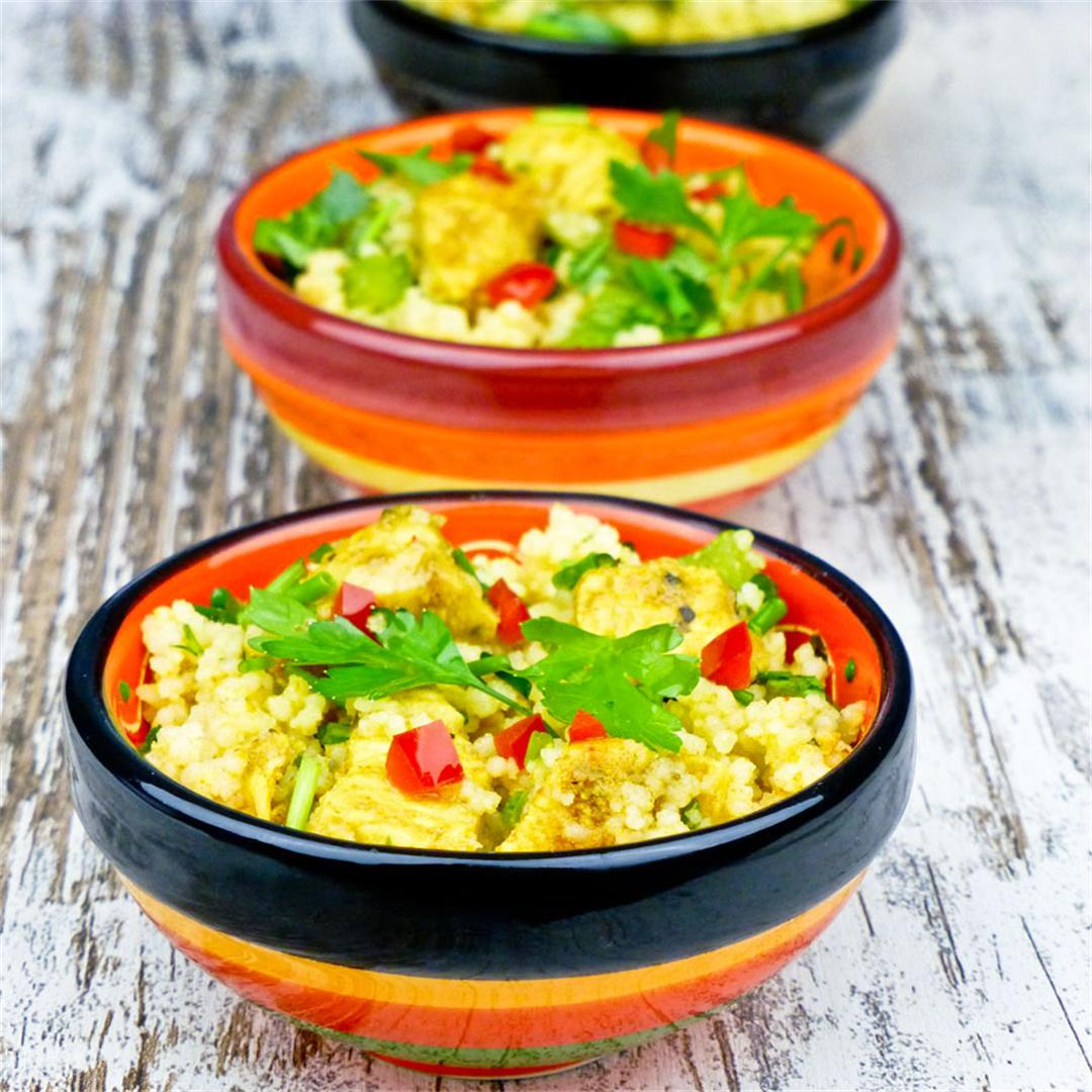 Moroccan couscous salad with spicy marinated chicken