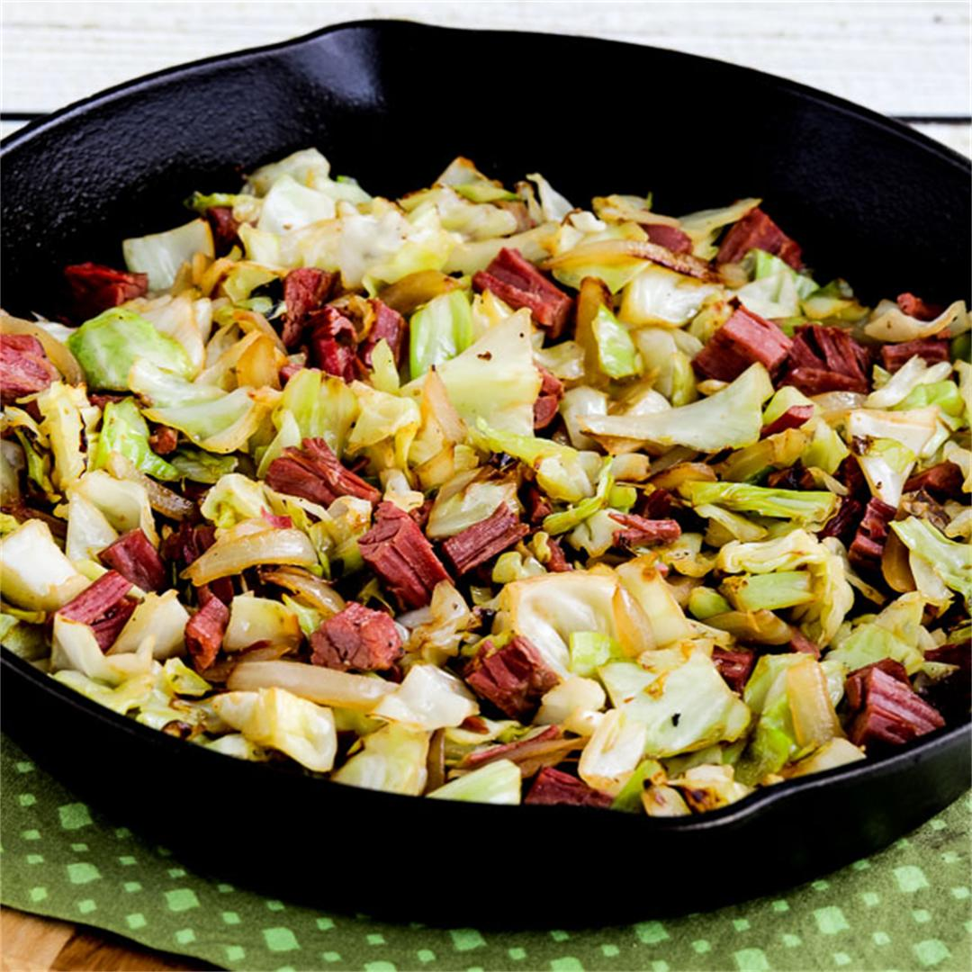 Low-Carb Fried Cabbage with Corned Beef