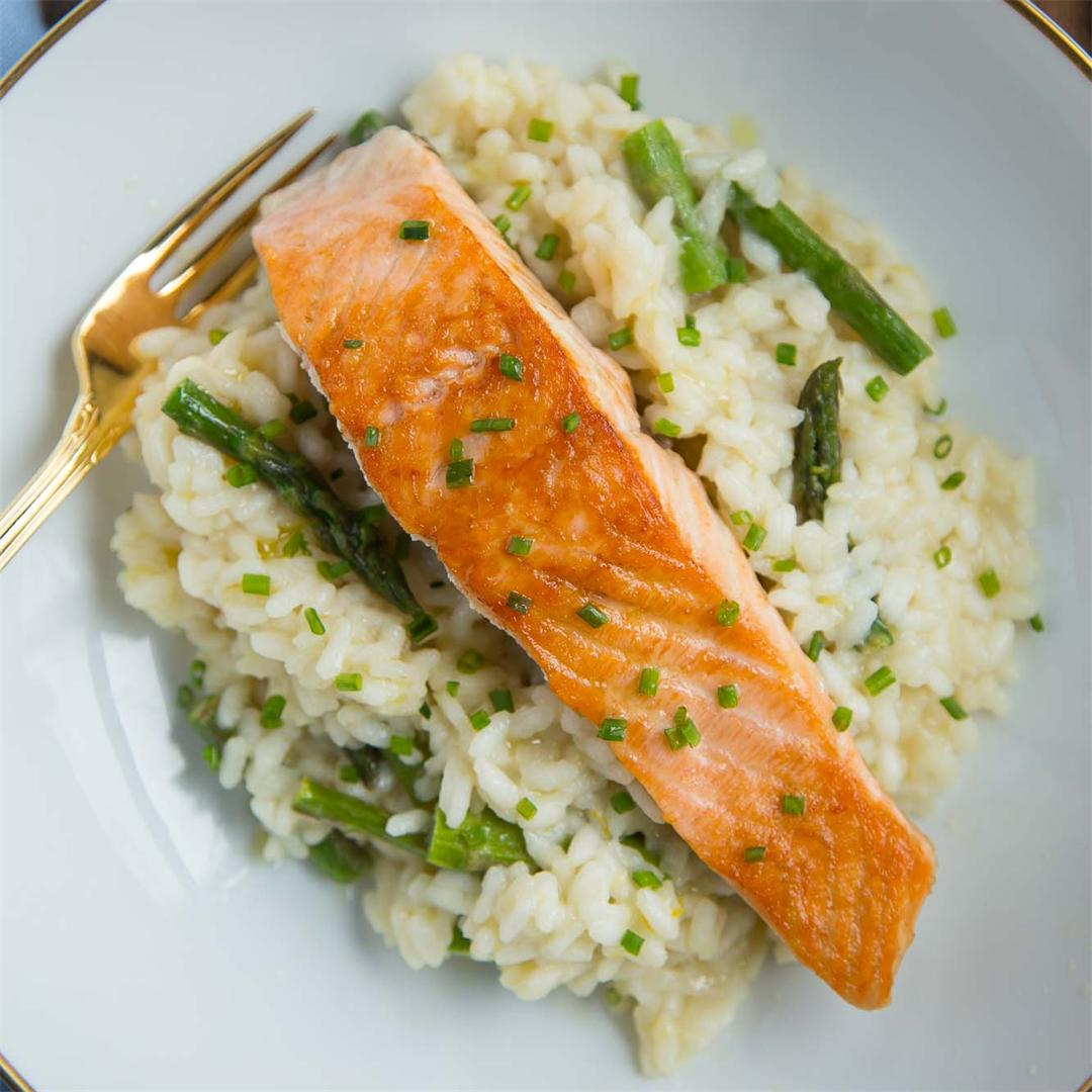 Meyer Lemon & Asparagus Risotto with Seared Salmon