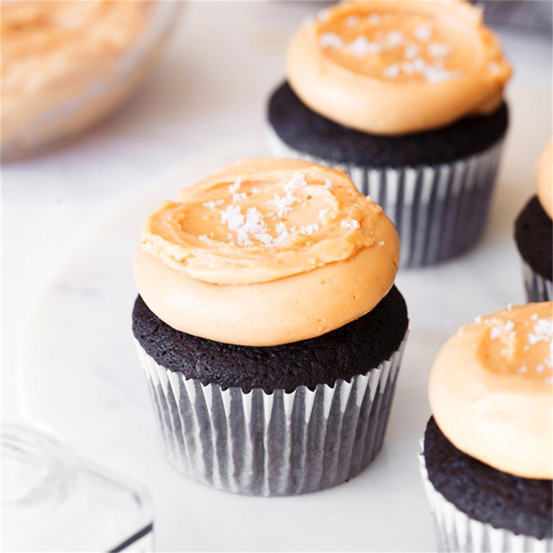 Salted Dulce de Leche Chocolate Cupcakes