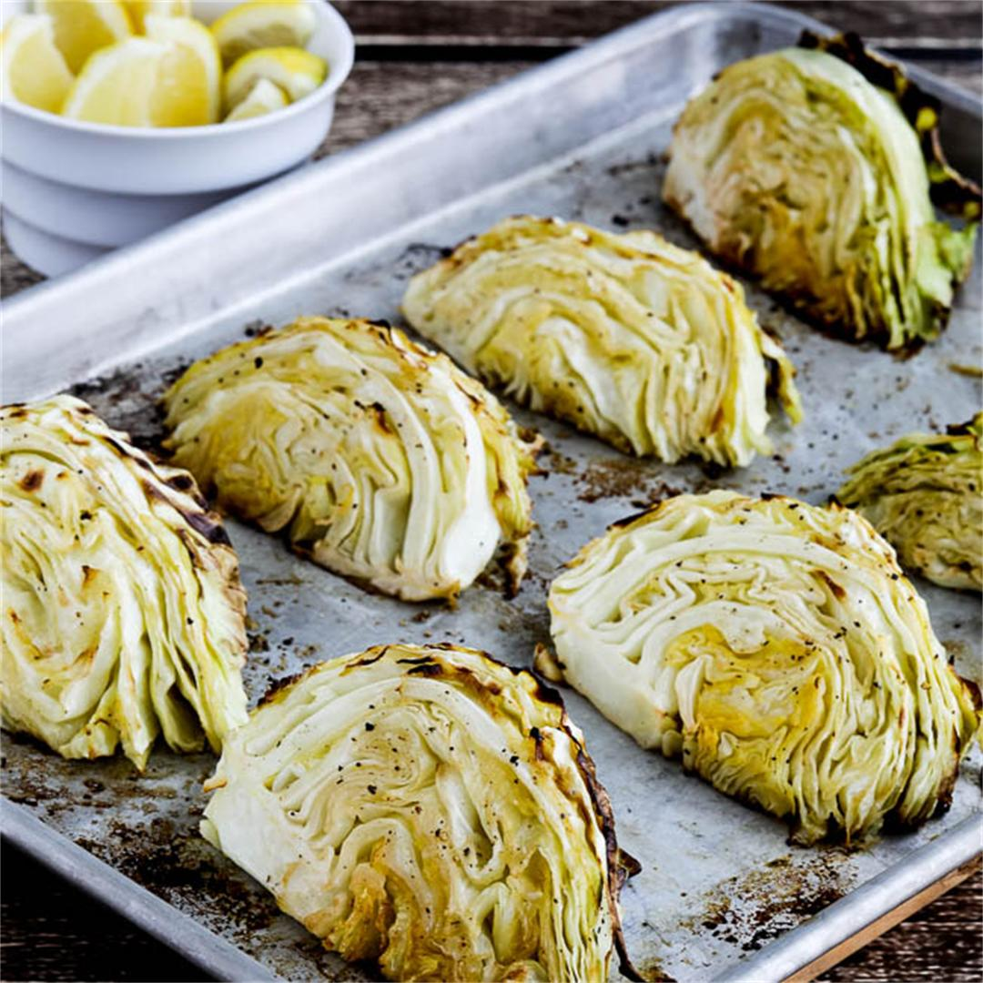 Low-Carb Roasted Cabbage with Lemon
