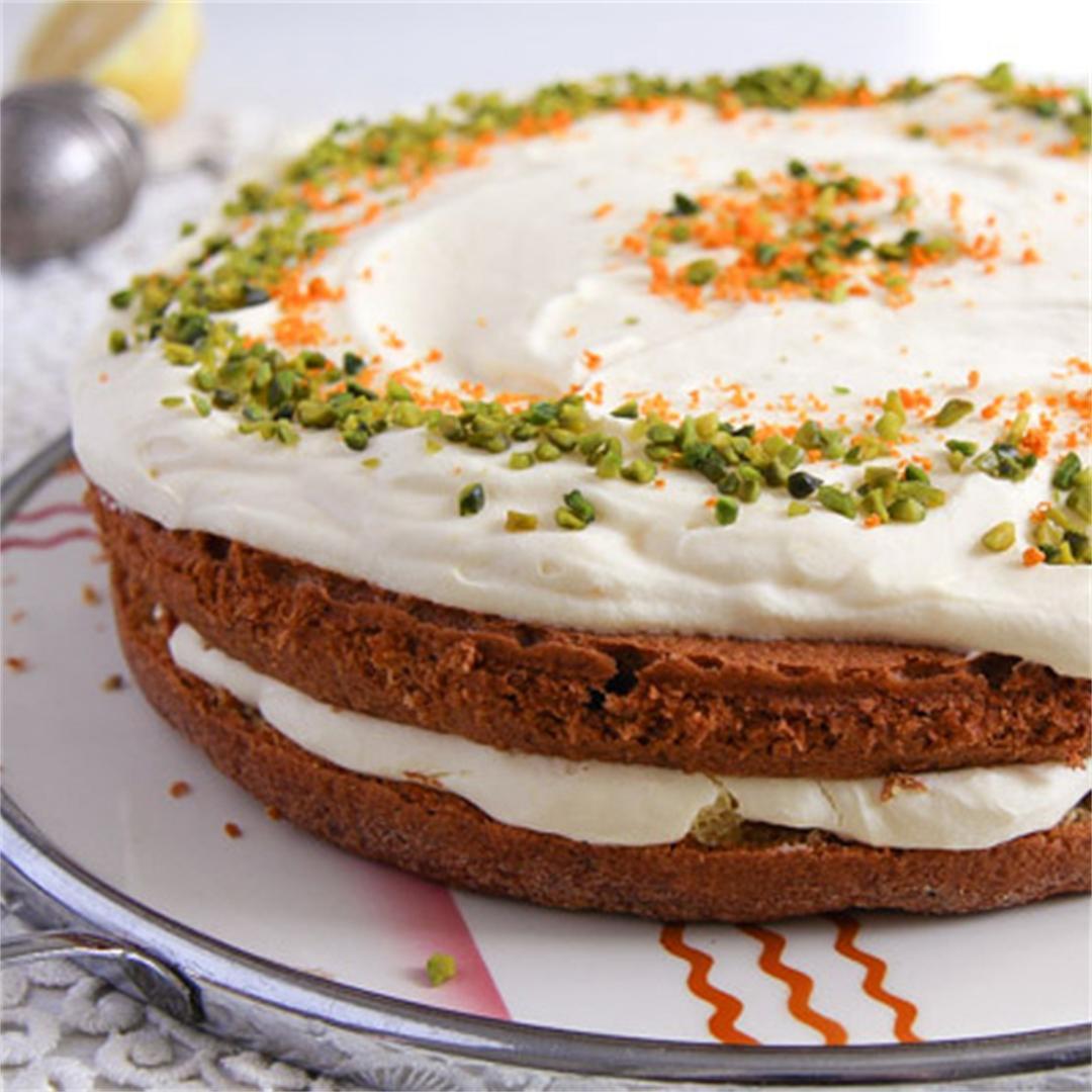 Carrot Cake with Almonds and Orange Juice Filling