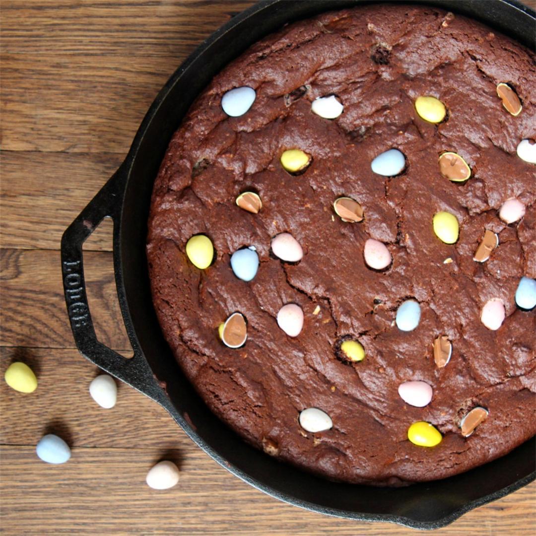 Cadbury Eggs Skillet Brownie