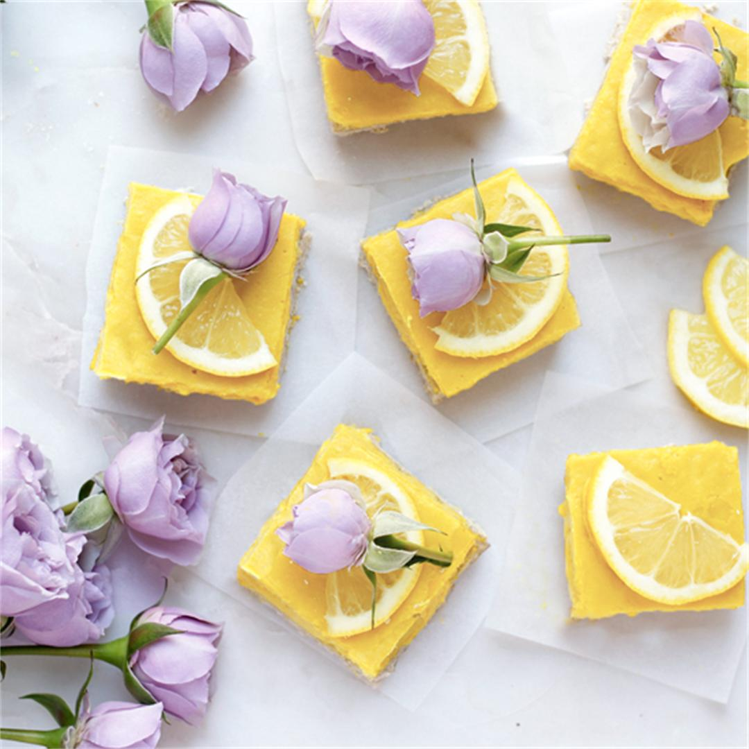 Quinoa Lemon Squares with white beans in cream filling