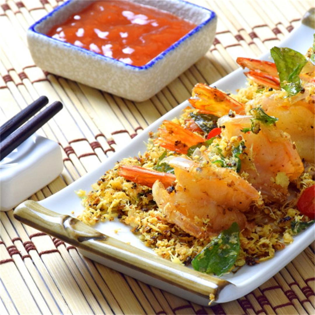 Butter prawns with oats and egg floss