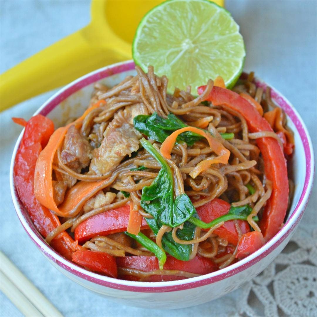 Pork & Vegetables Soba Noodles