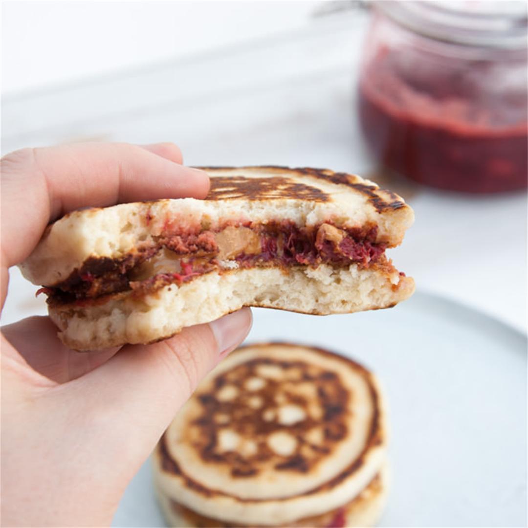 Vegan PBJ Pancake Sandwiches