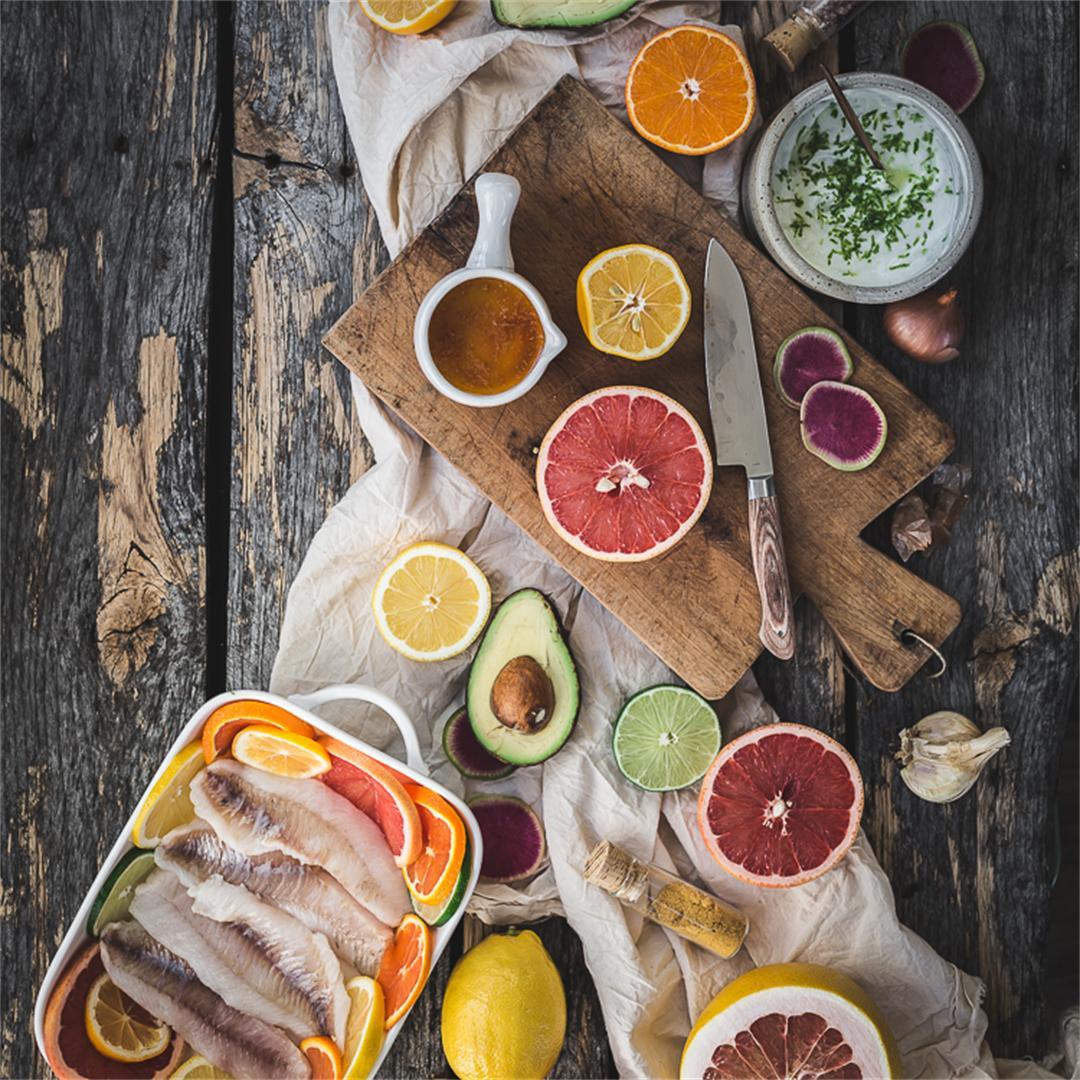 Baked Fish Tacos w Sunrise Citrus Salsa & Lime Crema