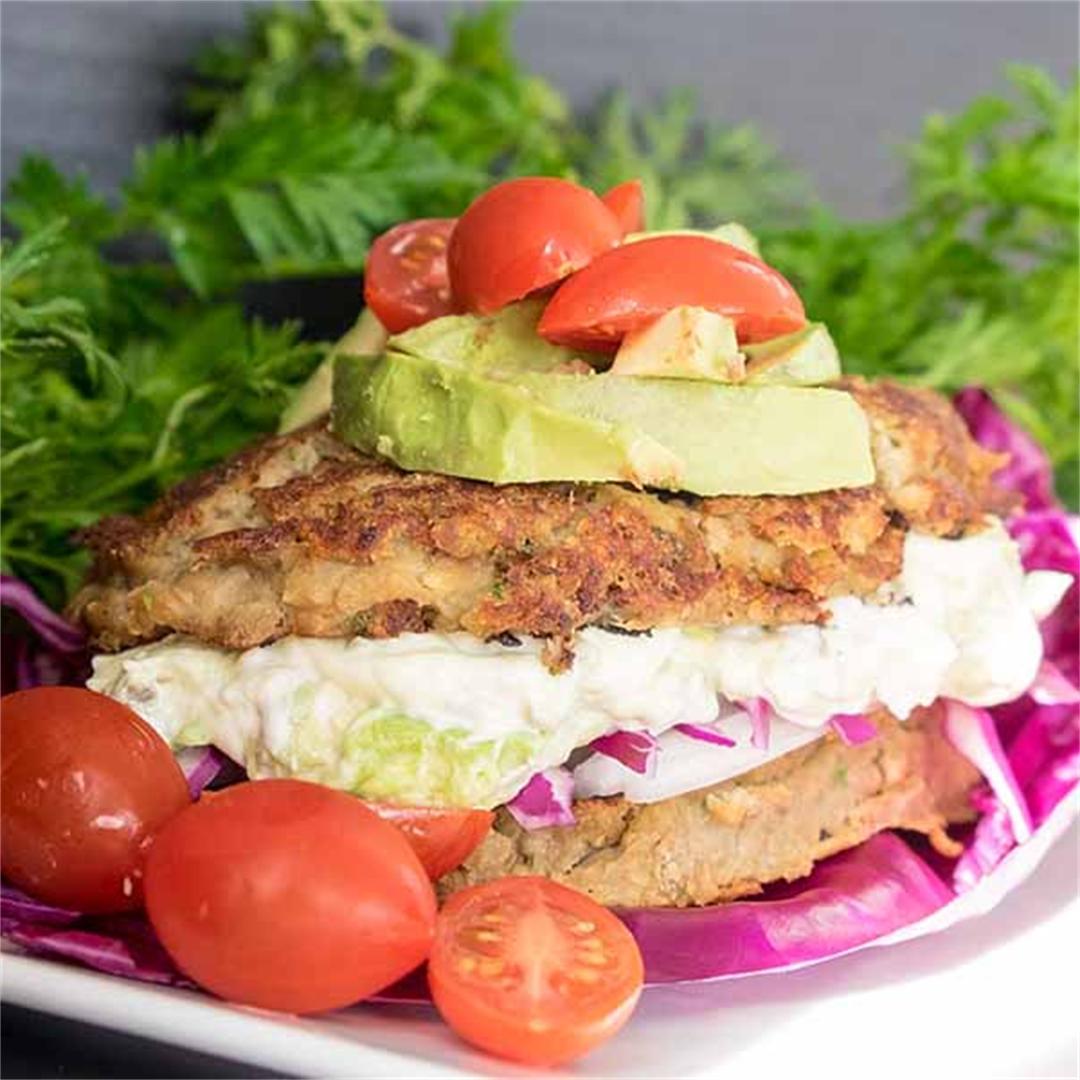 Vegan Lentil Burgers with Avocado Mayo