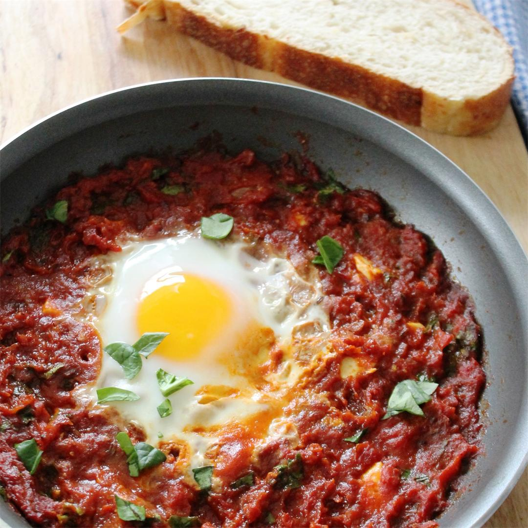 Shakshuka - a hearty, spicy North African tomato-based dish
