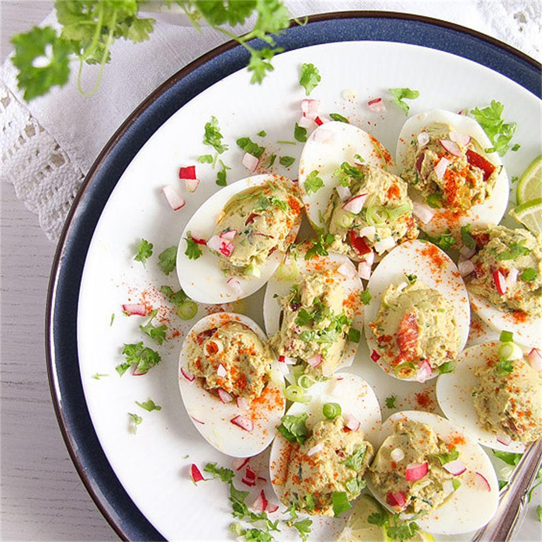 Deviled Eggs with Mexican Avocado/ Guacamole Filling