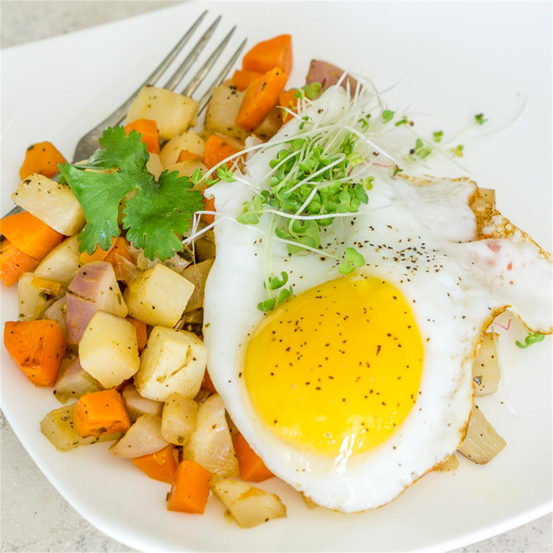 Vegetable Hash with a Fried Egg