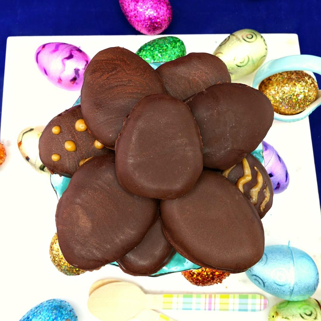 Gluten Free & Vegan Dark Chocolate Peanut Butter Easter Eggs