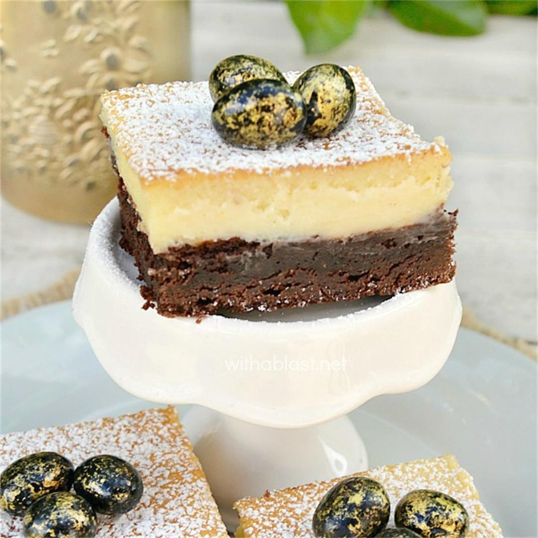 Brownie Cheesecake Bars - chewy base, creamy top layer
